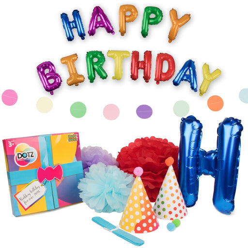 Craft cool Happy Birthday decorations with DOTZ! Get hats, banners, pompoms and a Happy Birthday Mylar balloons banner