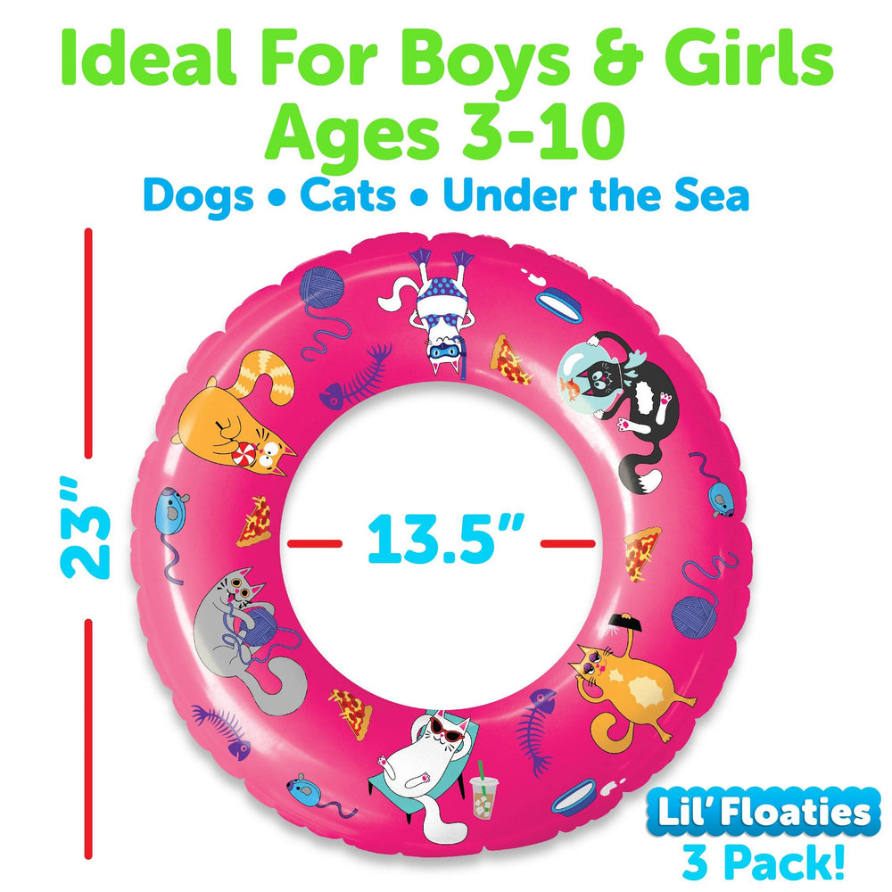 Pet Themed Pool Floats and Swimming Rings for Kids - 3 Pack (Dogs, Cats, Fish)
