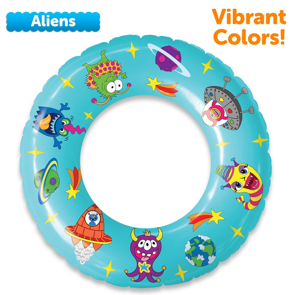 Pool Floats and Swimming Rings for Kids - 3 Pack (Unicorns, Dinosaurs, Aliens)