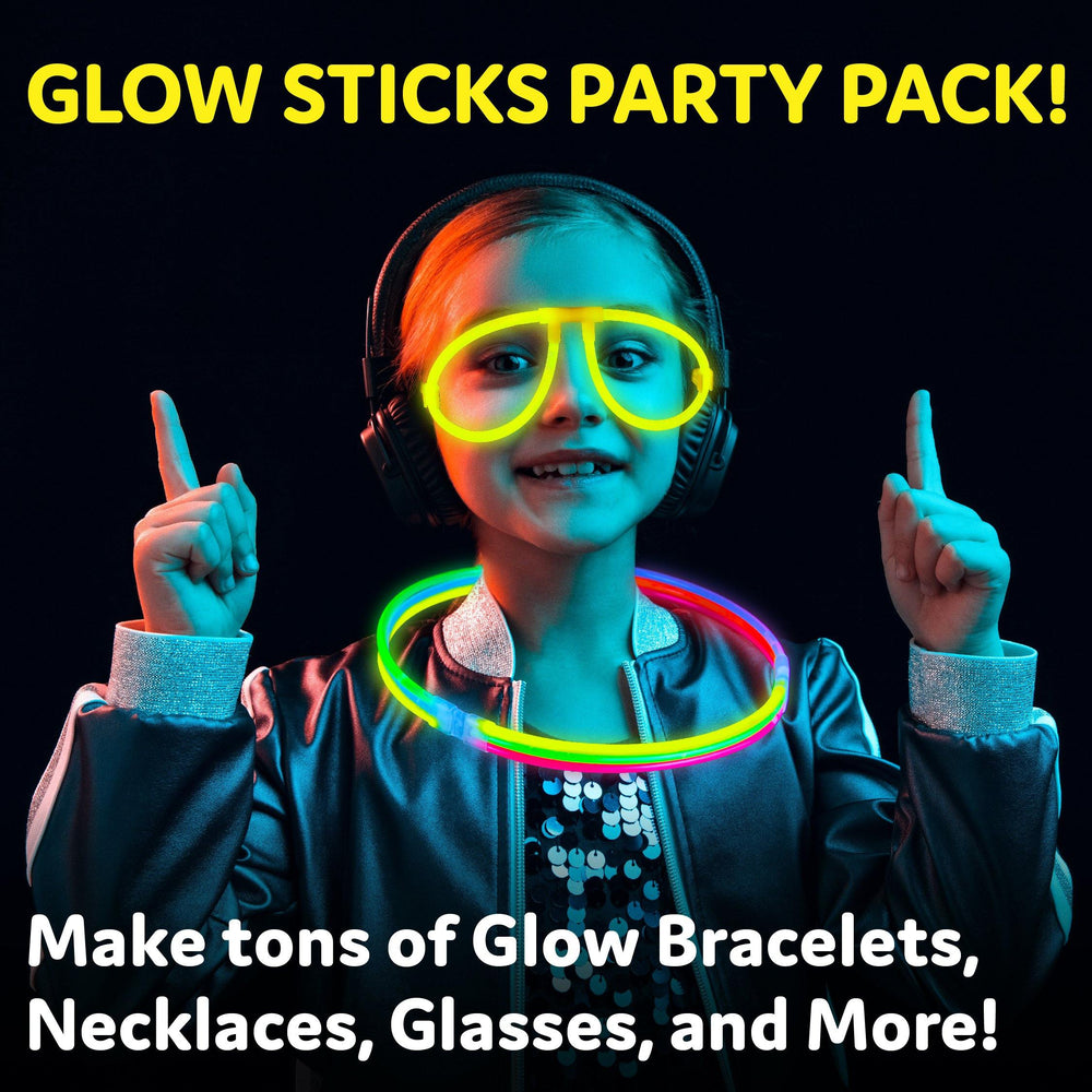 100pk Glow Sticks Jewelry Party Pack with Connectors