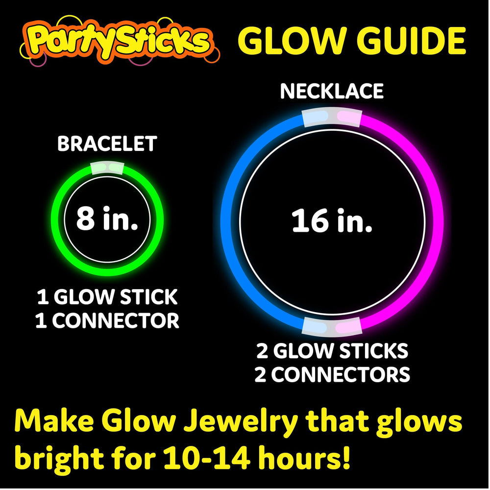 PartySticks - Glow Sticks Jewelry Party Pack with Connectors