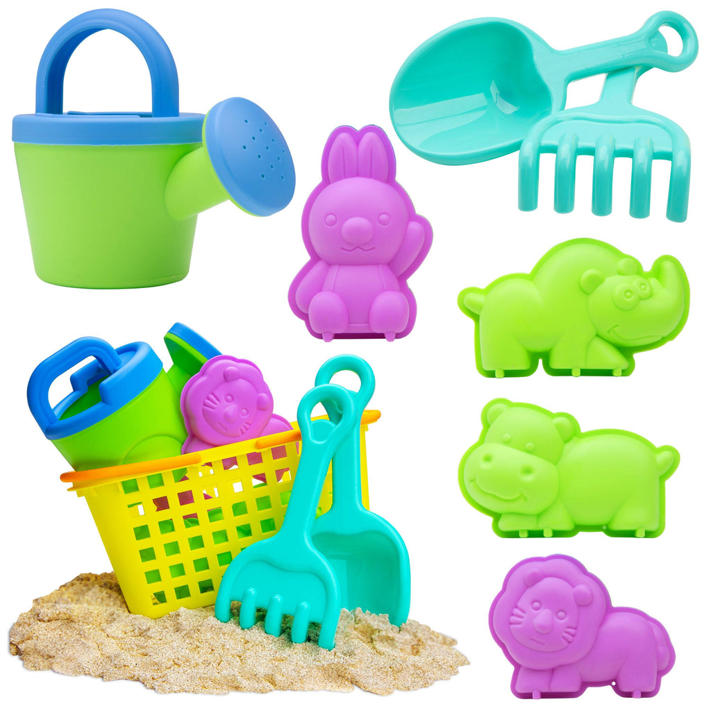 Beach Toys Sand Molds and Basket 8 PCS