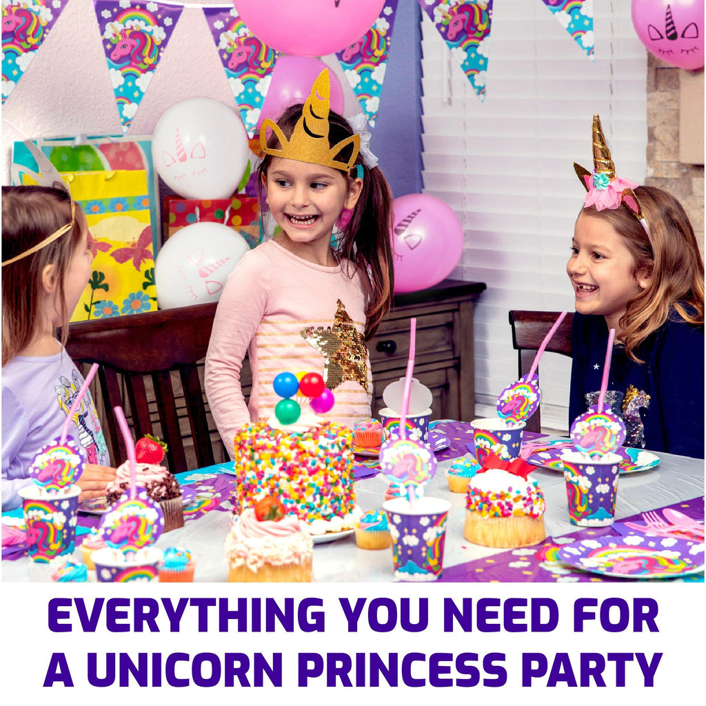 Misty Mountain Unicorn Party Supplies Pack 163 Pc Decorations, Tableware, Party Favors