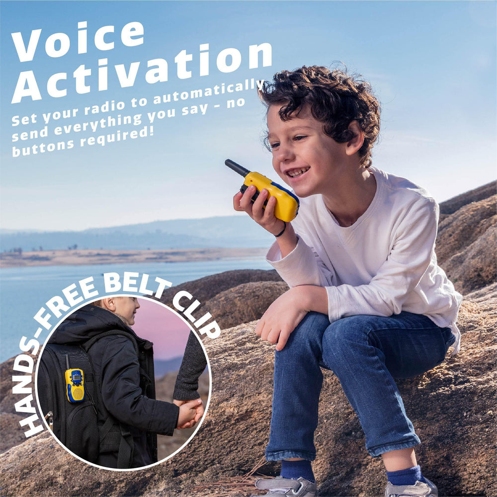 2 Vox Box Long Range Walkie Talkies (Yellow/Blue)