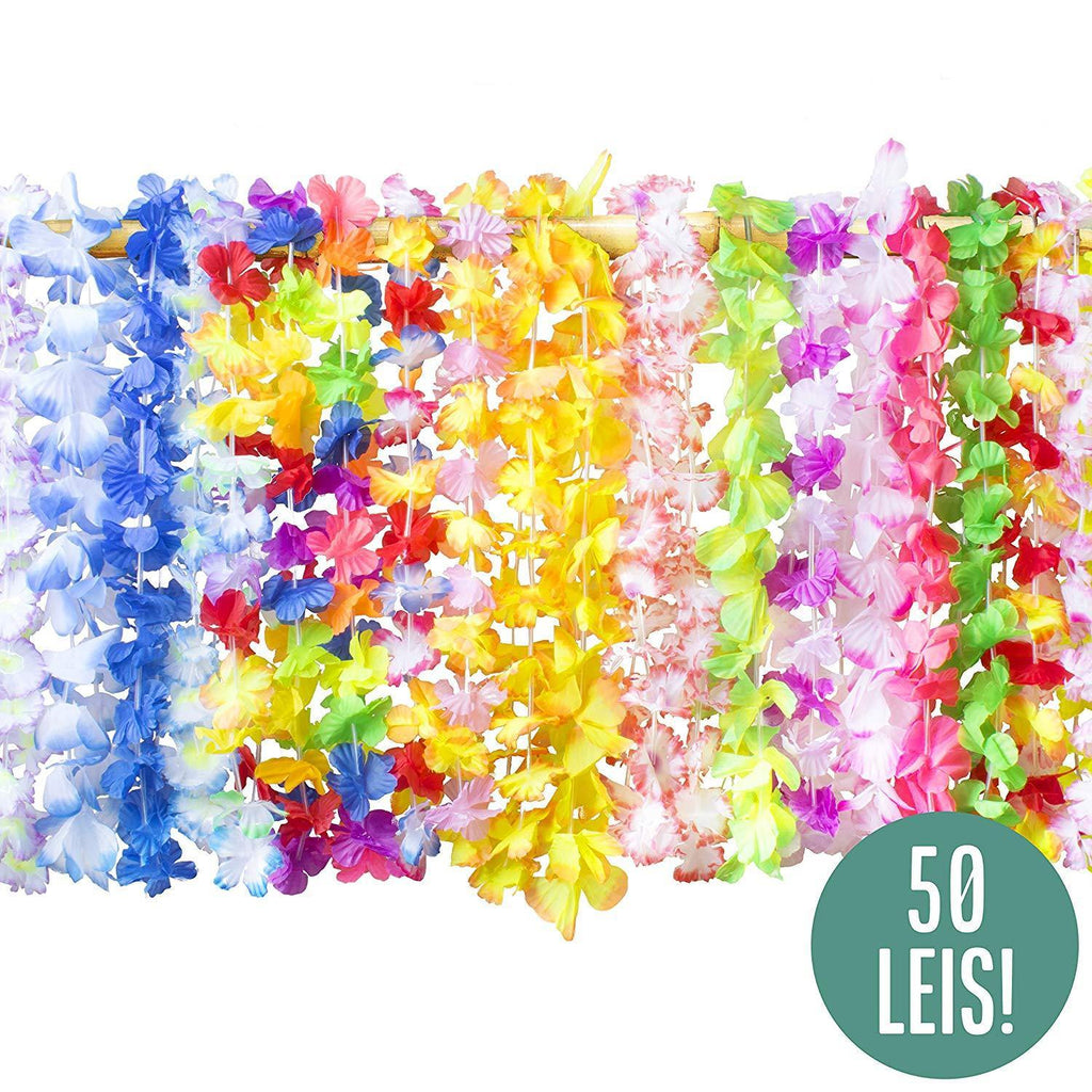 Assorted party leis great for luau party decorations and Maui costume themes