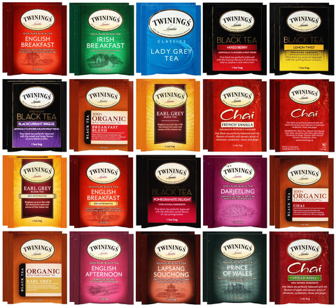 Twinings Black Tea Bag Sampler Assortment 40 Count with 10 By The Cup Honey Stix
