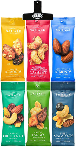 Sahale Snacks - All Natural Nut Blends Grab and Go Variety, 1.5 Ounce (Pack of 6) - With Exclusive By The Cup Bag Clip