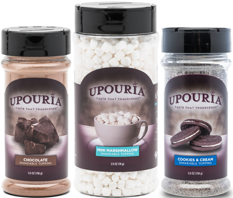 Upouria Chocolate Flavored, Cookies & Cream and Mini Marshmallows Topping Shakers - Set of 3