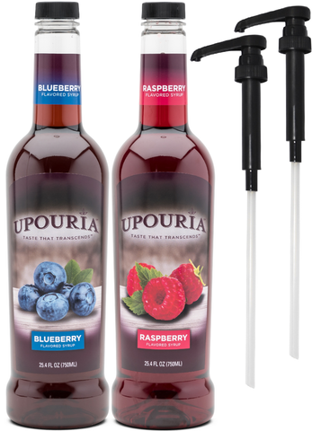 Upouria Blueberry & Raspberry Flavored Syrups, 100% Vegan and Gluten-Free, 750ml bottles - Set of 2 - Pumps included