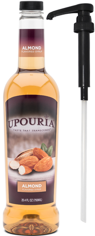 Upouria Almond Flavored Syrup, 100% Vegan and Gluten-Free, 750ml bottle - Pump included