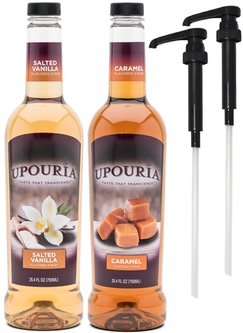 Upouria Salted Vanilla & Caramel Flavored Syrup, 100% Vegan and Gluten-Free, 750ml Bottles -Set of 2 - Pumps included