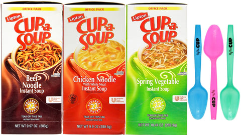 Lipton Cup-a-Soup Variety 22 Count (Pack of 3) & By The Cup Limited Edition Spoons