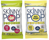 Skinny Pop Popcorn .65 oz Original & White Cheddar 100 Calorie Bag Variety Pack of 10 with By The Cup Bag Clip