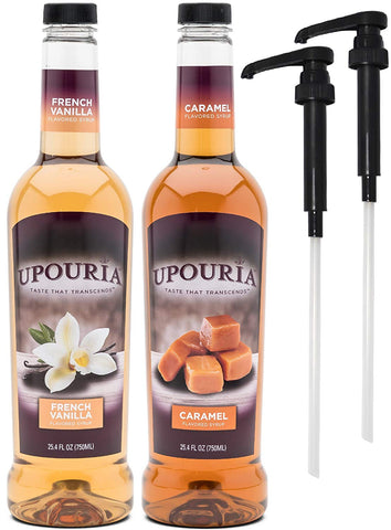 Upouria French Vanilla & Caramel Naturally Flavored Syrup, 100% Vegan and Gluten-Free, 750ml bottles - Set of 2 - Pumps included