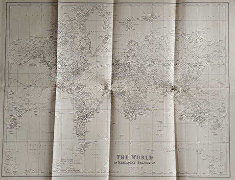 Antique World Map Mercator Projection on Artymaps.com