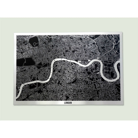 Brushed Aluminium London Streetmap
