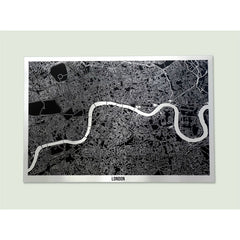Brushed Aluminium London Streetmap Full Artymaps