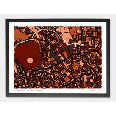 Camden Kings Cross Regents Park Arty Map Framed