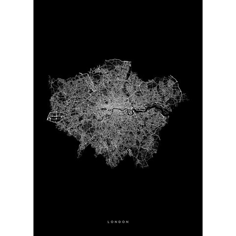 London Black and White Map by Maptrail