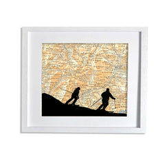 Skiing silhoutte couple personalised antique map - white frame