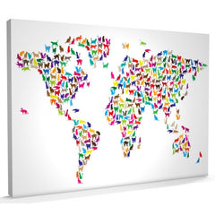 Cat world map colourful canvas