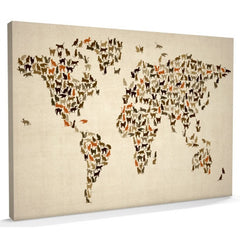 cat map of the world on canvas