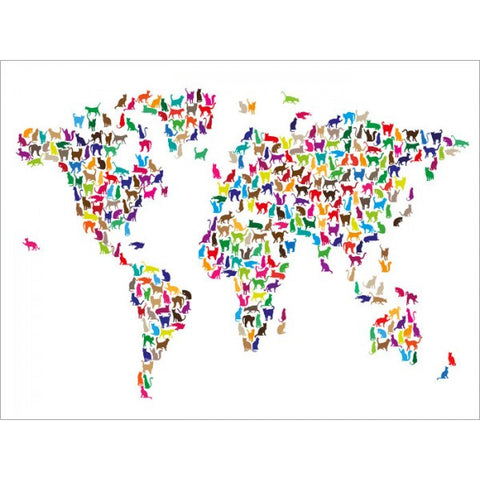 Cat world map colourful