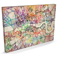London watercolour streetmap canvas
