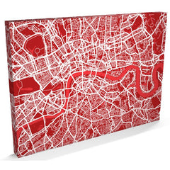 London Street Map in Red