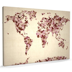 Love hearts world map canvas vintage
