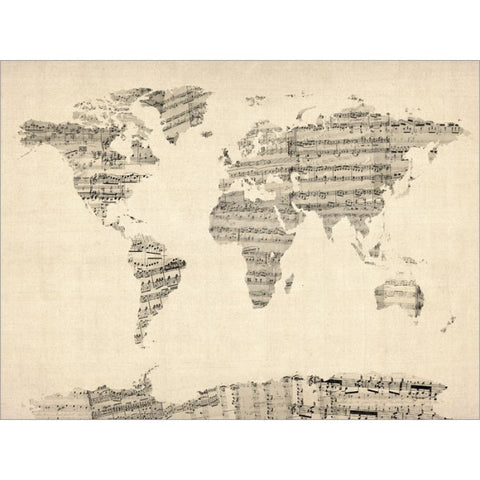Vintage Sheet Music World Map