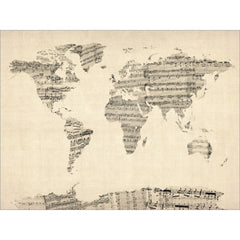 Old sheets music world map