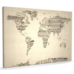Old sheets music world map canvas