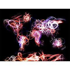 Moving lights world map black