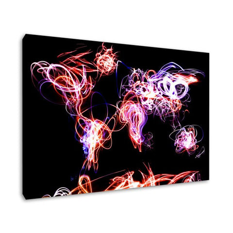 Moving lights world map black canvas