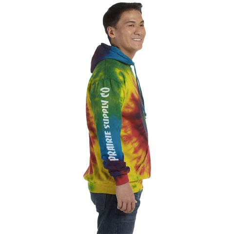 Prairie Supply Co. Unisex Hoodies - Abstract Morty Pullover - Rainbow Tie-Dye/White
