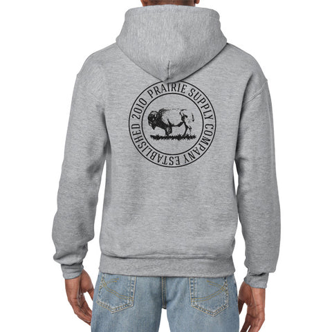 Prairie Supply Co. Unisex Hoodies - Cultivated Circle Zip - Heather Grey/Black