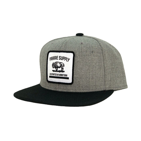 Prairie Supply Co. Unisex Hats - Cultivated Badge Snapback - Heather Grey/Black
