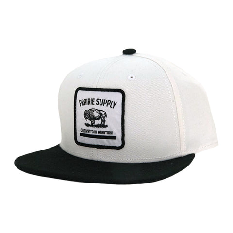 Prairie Supply Co. Unisex Hats - Cultivated Badge Snapback - White/Black