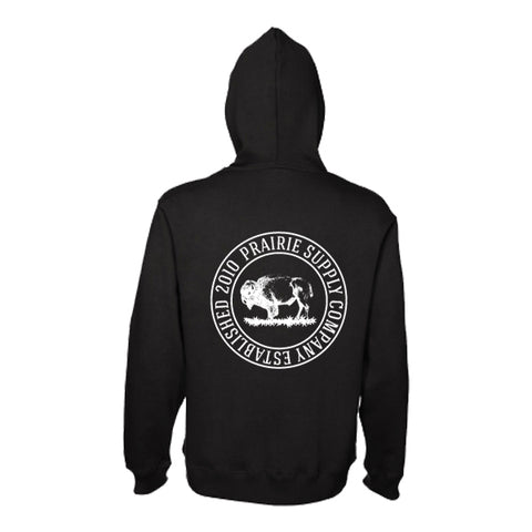 Prairie Supply Co. Unisex Hoodies - Cultivated Circle Zip - Black/White