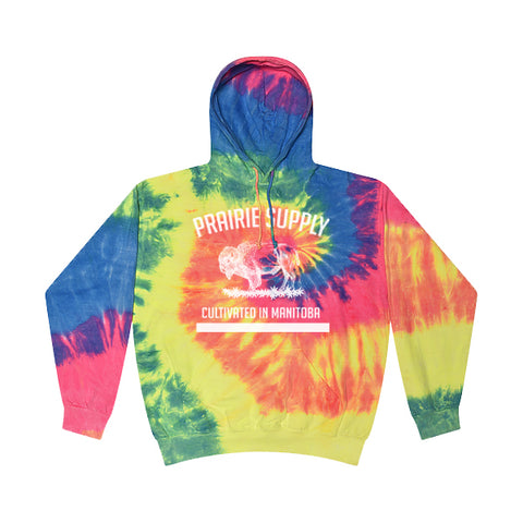Prairie Supply Co. Unisex Hoodies - Cultivated - Neon Rainbow/White