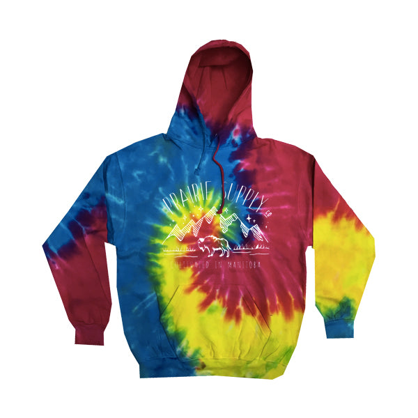 Prairie Supply Co. Youth Unisex Hoodies - Cultivated Mountain Pullover - Rainbow/White