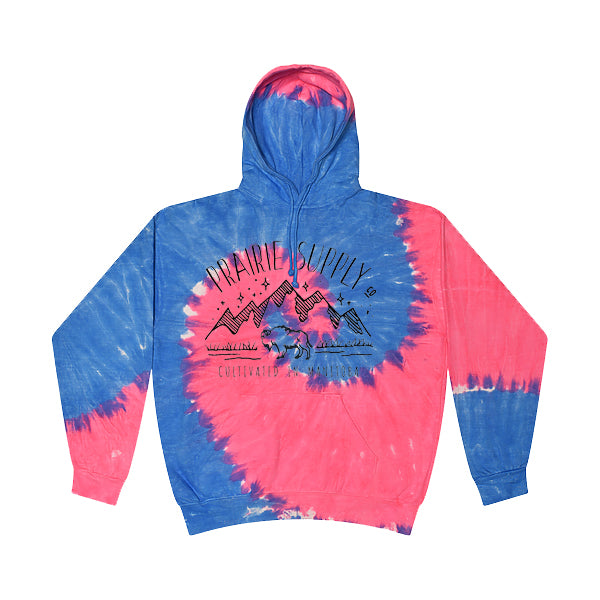 Prairie Supply Co. Unisex Hoodies - Cultivated Mountain Pullover - Flo Blue/Pink