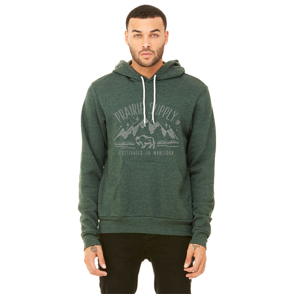 Prairie Supply Co. Unisex Hoodies - Cultivated Mountain Pullover - Heather Forest/Grey