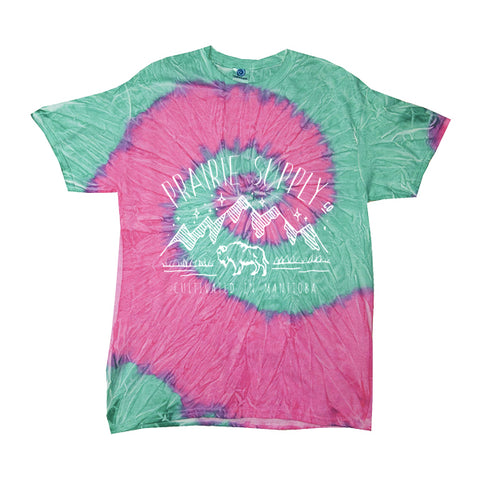 Prairie Supply Co. Unisex T-Shirts - Cultivated Mountain - Pink/Seafoam Tie-Dye/White