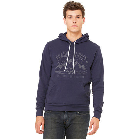 Prairie Supply Co. Unisex Hoodies - Cultivated Mountain Pullover - Navy/Grey