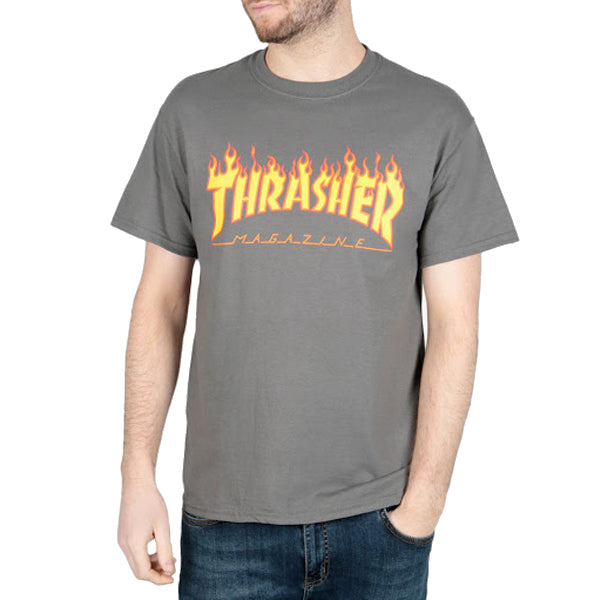 Thrasher Men's T-Shirts - Flame Logo - Charcoal