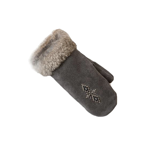 Manitobah Mukluks - Fur Trimmed Mitts - Charcoal