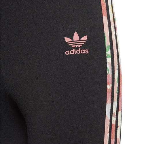 Adidas Girl's Pants - Studio London Floral High-Waisted Leggings - Black/Trace Pink/Multi