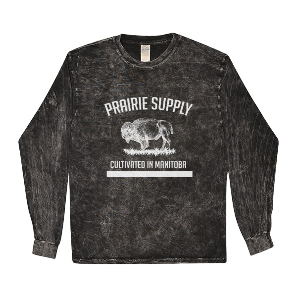 Prairie Supply Co. Unisex Long Sleeves - Cultivated - Mineral Wash Black/White